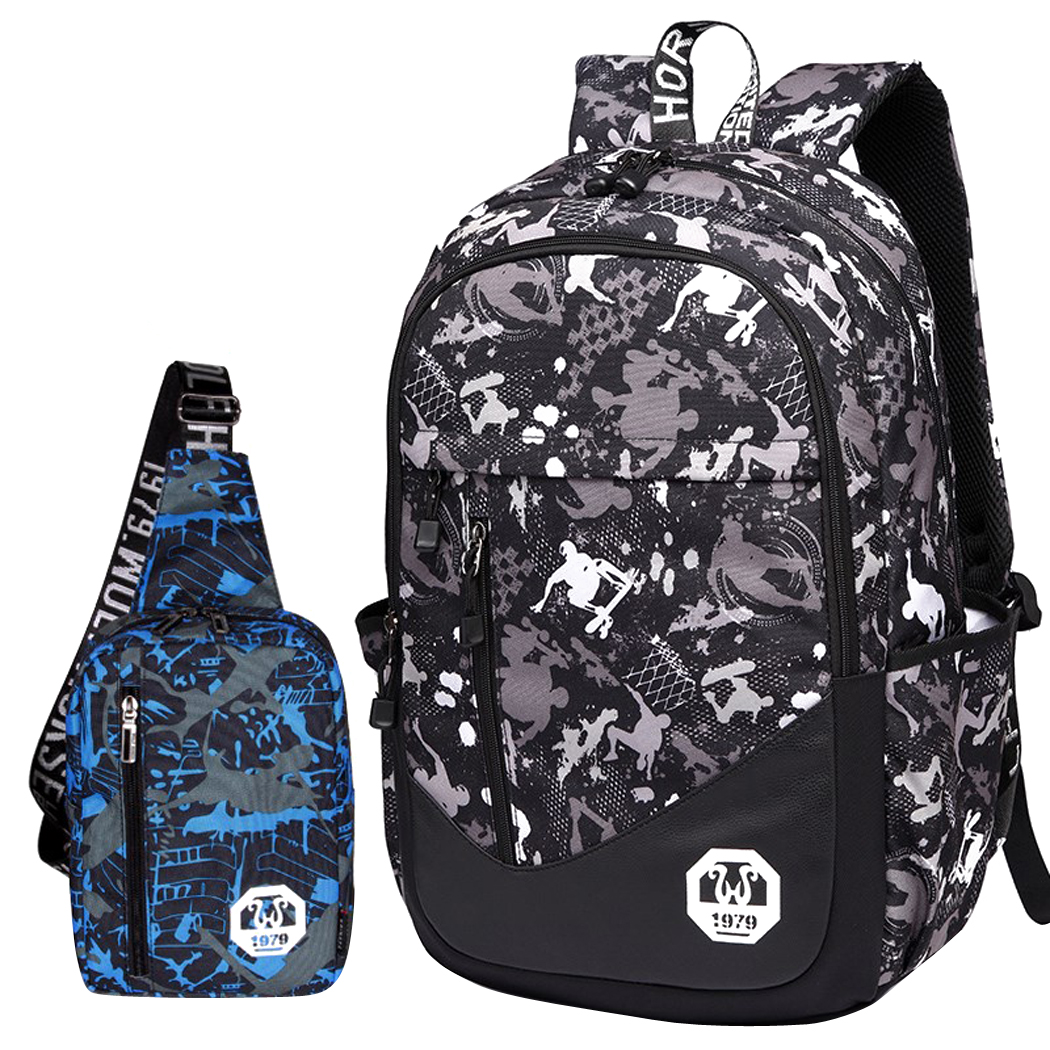 Coofit - Backpack, 2Pc Oxford School Backpack