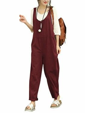 Women's Fashion Sleeveless Cotton Linen Loose Jumpsuits