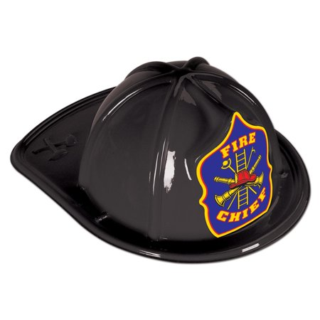 Club Pack of 48 Black Fire Chief Plastic Firefighter Party Hats