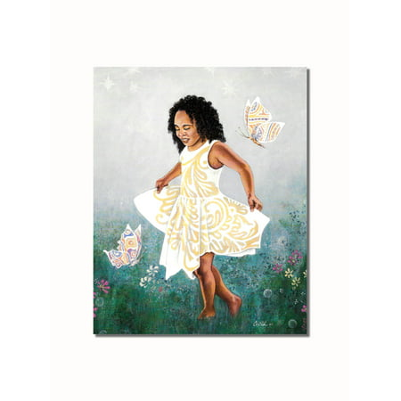 African American Black Little Girl in Grass Butterflies Wall Picture 8x10 Art Print