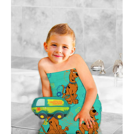 SCOOB! Scooby-Doo 2-Piece Bath Towel and Character Scrubby Set, Kids Bath Set, Mystery Machine