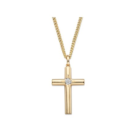 White Diamond Accent Starburst Etched Cross Pendant Curb-Link Necklace 14k Yellow Gold-Plated  22