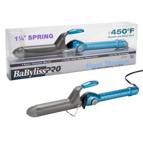 "BaByliss Pro 1 1/4"" Nano Titanium Spring Barrel Hair Curling Iron, BLUE, BABNT125S"