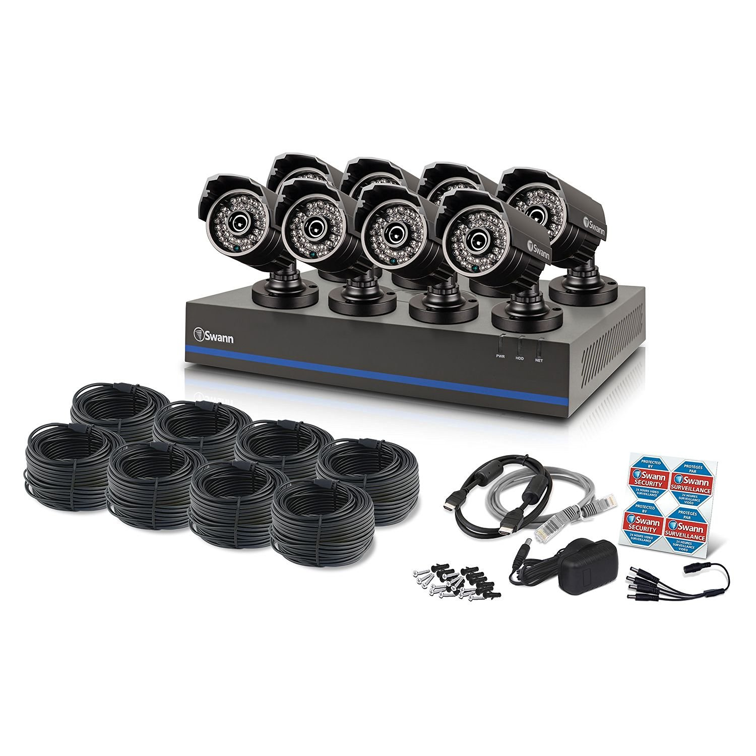 Swann TVI DVR Security System - 8 1080p Cameras, 2TB HD, and 100' Night Vision