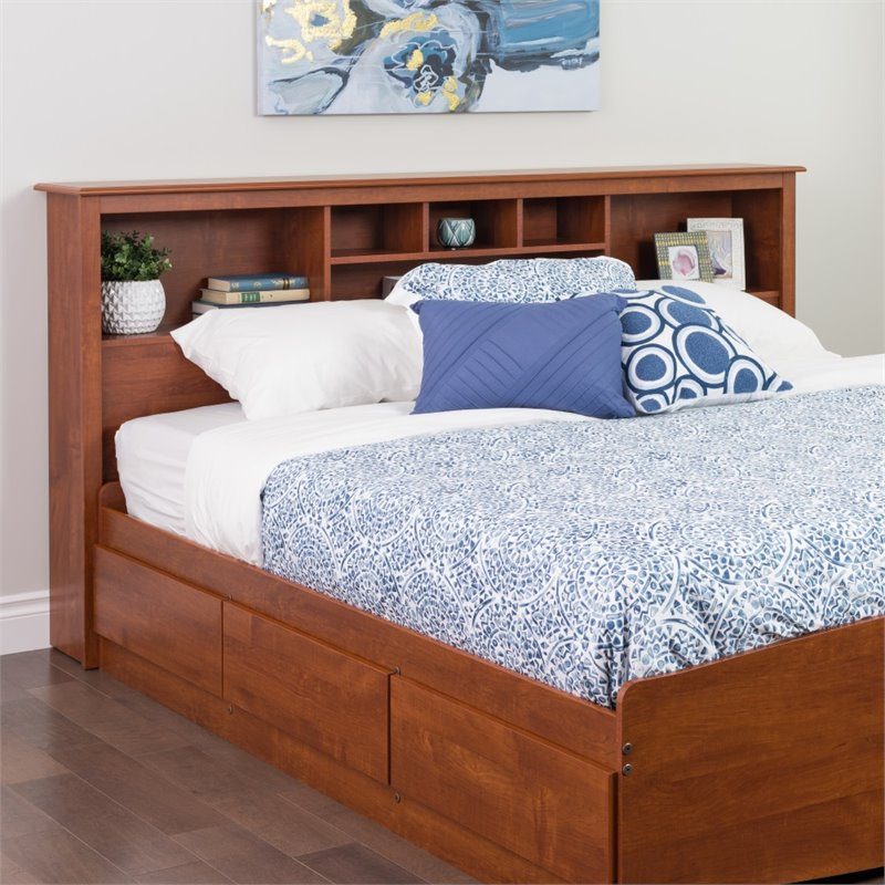 Prepac Edenvale King Bookcase Storage Headboard, Cherry