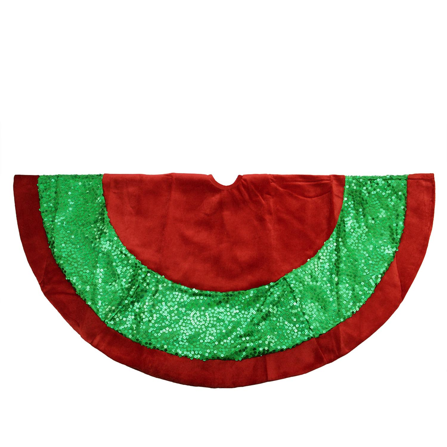 """48"""" Green Holographic Sequined Christmas Tree Skirt with Red Velveteen Trim"""