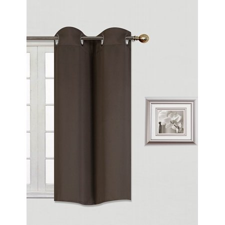 "(K30) BROWN COFFEE  1 Panel Silver Grommets KITCHEN TIER Window Curtain 3 Layered Thermal Heavy Thick Insulated Blackout Drape Treatment Size 30"" Wide X 36"" Length"