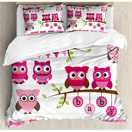 Baby Shower Themes Girl (Nursery King Size Duvet Cover Set, Girl Baby Shower Themed Owls and Branches Adorable Cartoon Animal Characters, Decorative 3 Piece Bedding Set with 2 Pillow Shams, Purple Pink Brown, by)