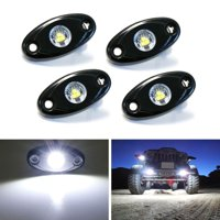 iJDMTOY (4) Universal Fit 3-CREE 9W High Power Rgid-Line LED Rock Light Kit For Jeep Truck SUV Off-Road Boat, Xenon White