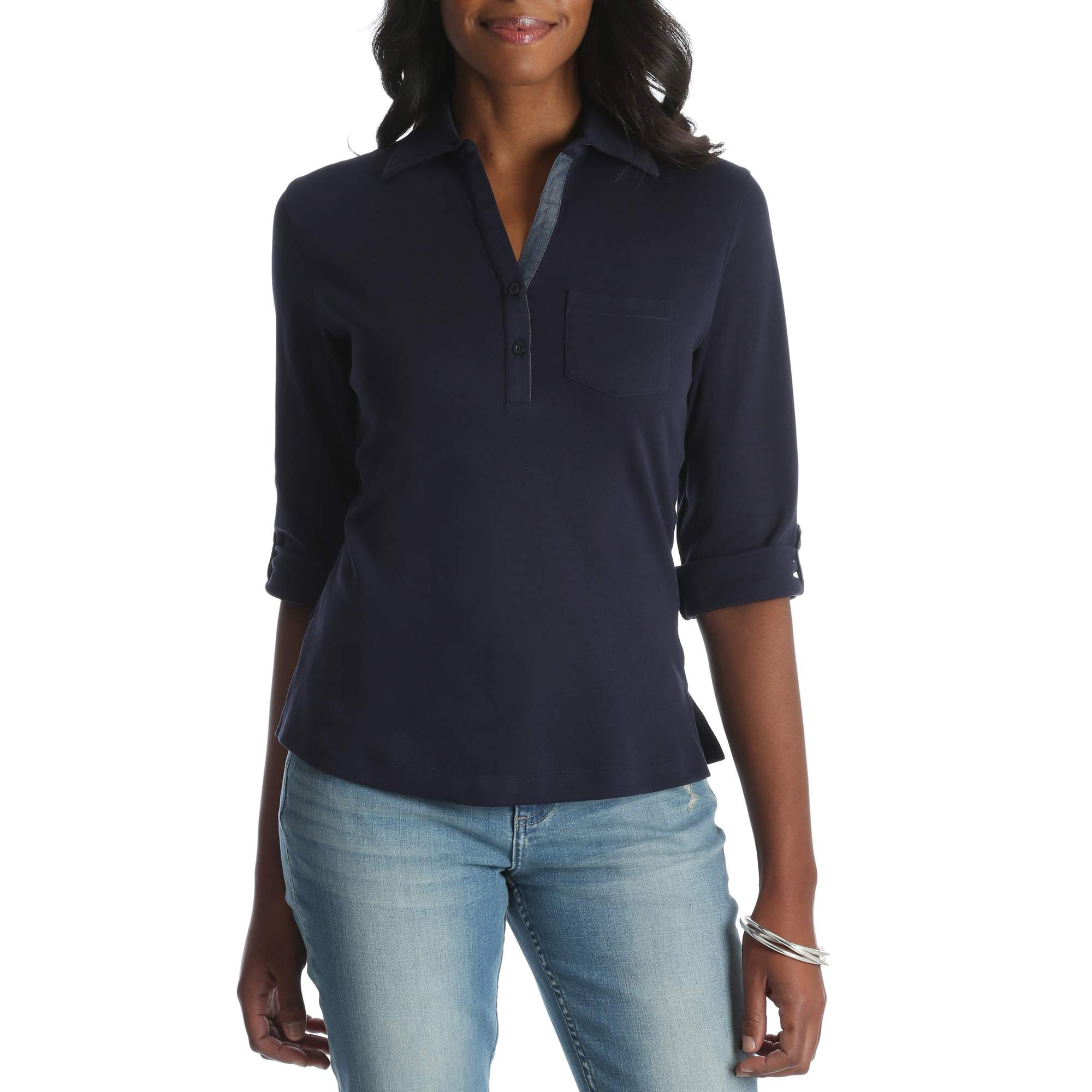Riders by Lee Women's 3 4 Sleeve Knit Top With Button Placket by Me Jane