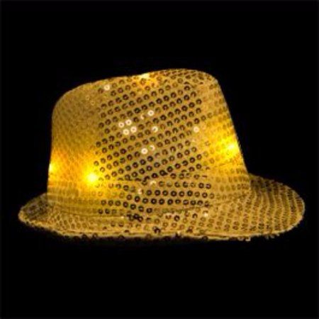 LED Flashing Fedora Hat with Gold Sequins - Sequin Fedora