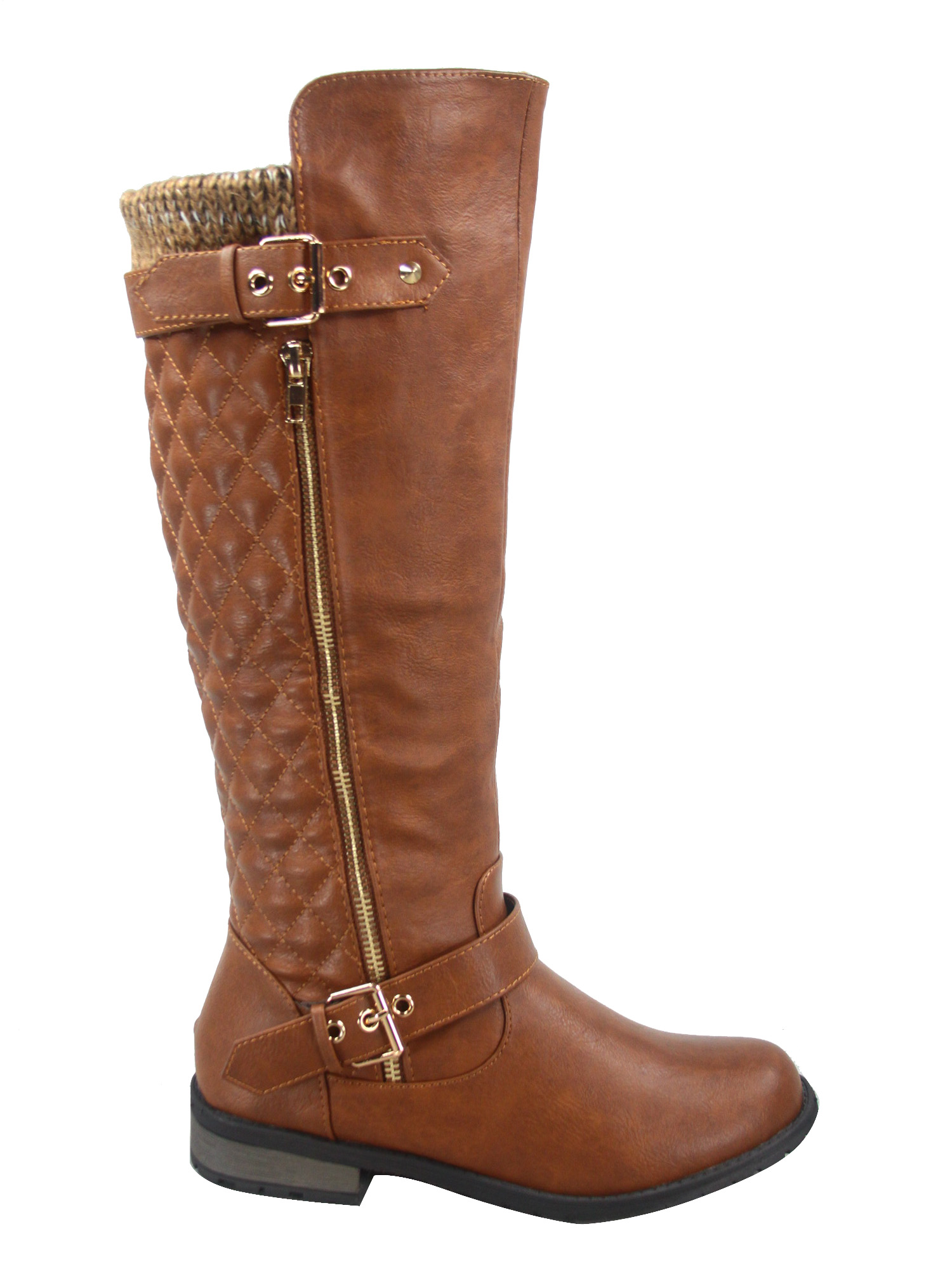 Mango-51 Fashion Knee High Zipper Buckles Low Heel Comfort Women/'s Boots Brown