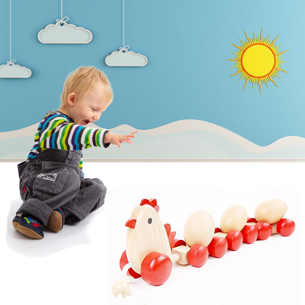 Wooden Chick Pulls Along With 3 Eggs Train Carts Early Educational Toy For Kids by