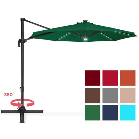 Best Choice Products 10ft Solar LED Cantilever Offset Market Patio Umbrella Shade for Deck, Garden, Poolside w/ Easy Tilt, Smooth Gliding Handle -