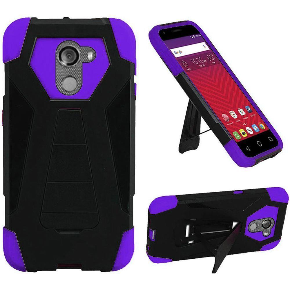 For T-Mobile REVVL / Alcatel A30 Fierce (MetroPCS) / Alcatel A30 Plus (Amazon) / Alcatel Walters Case Symbiosis Armor Hybrid Silicone Cover Hard Plastic with Kick Stand (Black/Purple)