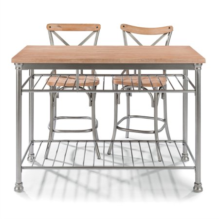 French Quarter Butcher Block Top Kitchen Island and Two Stools - Walmart.com