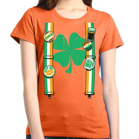 Shop4Ever Women's Irish Suspenders Shamrock St. Patrick's Day Graphic - St Patricks Day Suspenders