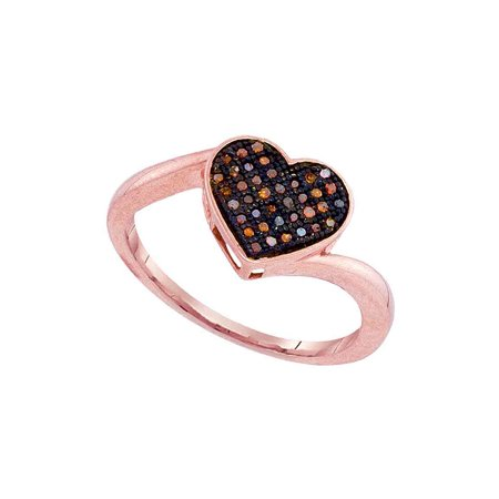 10kt Rose Gold Womens Round Red Color Enhanced Diamond Heart Love Ring 1/10 Cttw - image 1 of 1