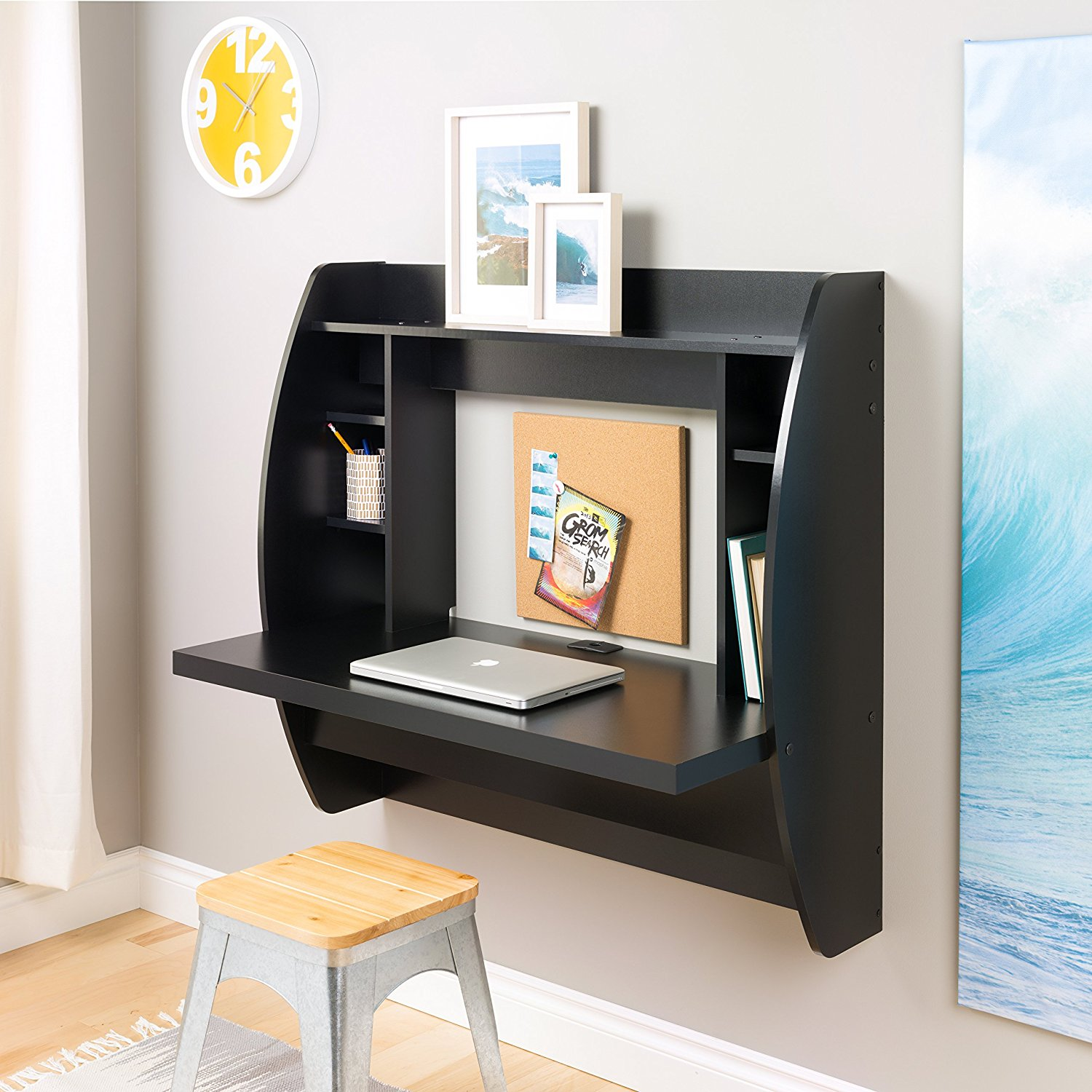 Uenjoy Floating Wall Mounted Office Computer Desk Home Office Table w/Storage,Black