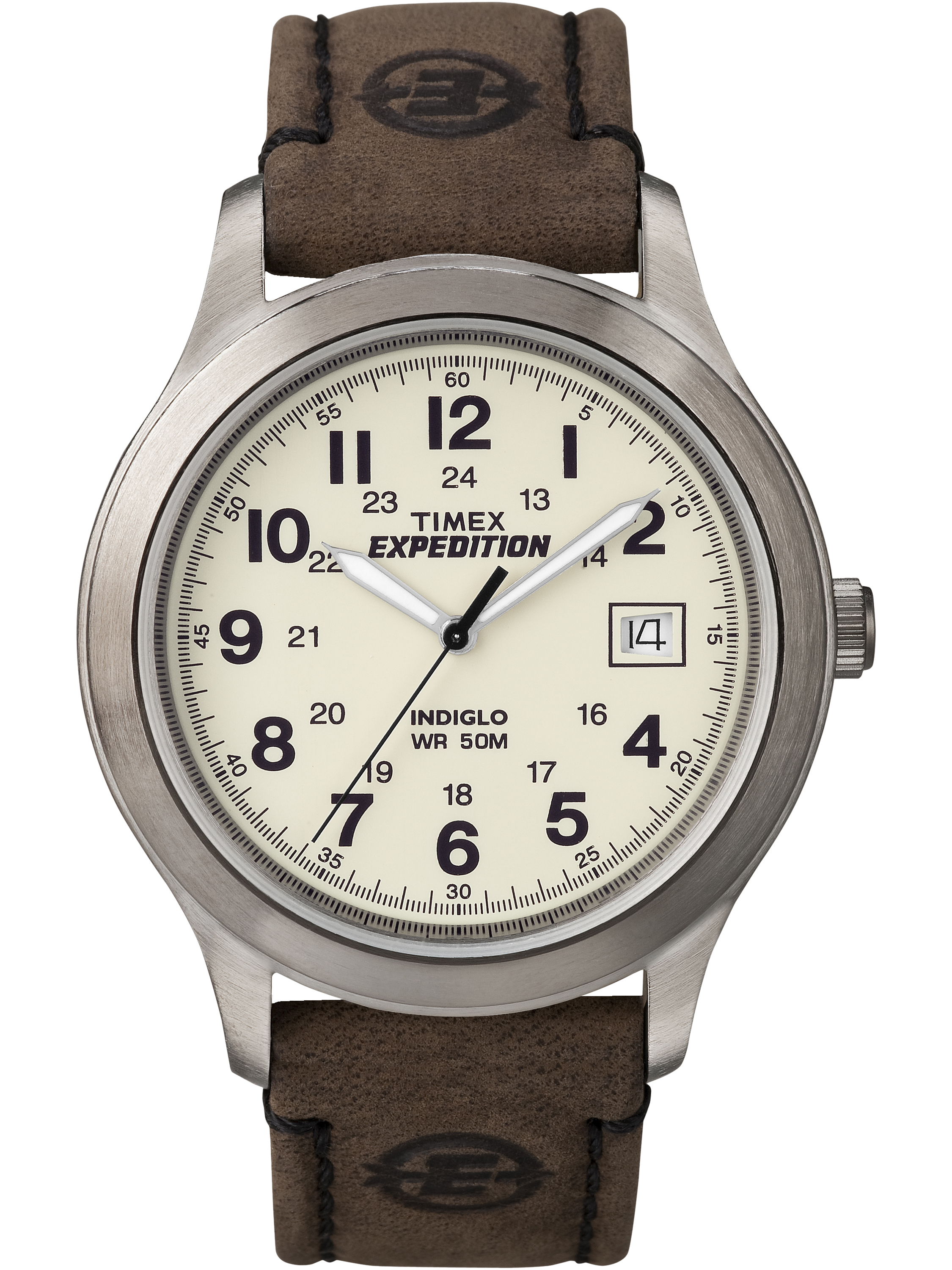 Timex Mens Expedition Metal Field Watch, Brown Leather Strap by Timex