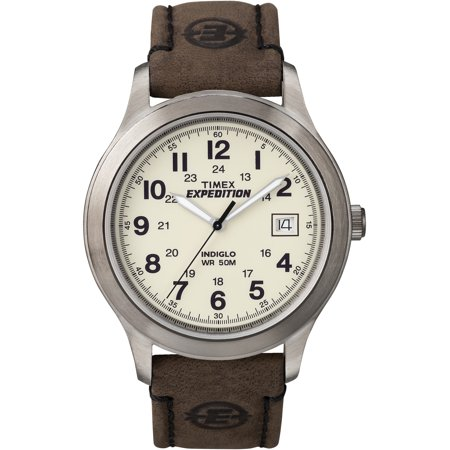 Timex Mens Expedition Metal Field Watch, Brown Leather Strap