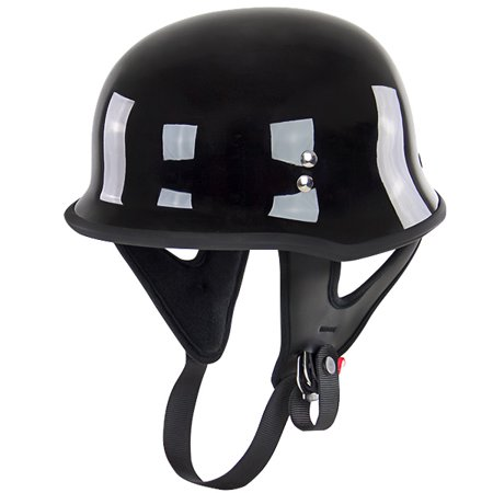Outlaw T-75 German Style Black Half Helmet