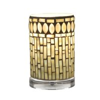 """6.75"""" Soothing Colored Tropical Themed Mosaic Pattern Cylindrical Accent Lamp"""