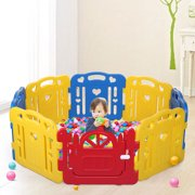 Baby Playpen 8 Panel Play Yard Baby Safety Center Kids Home Indoor Outdoor Pen Yellow