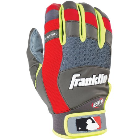 Franklin Sports X-Vent Pro Batting Glove, Gray/Red/Optic Yellow, Youth