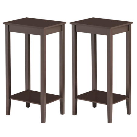 Set of 2 End Table Living Room Bedside Sofa Table Nightstand Wooden Side Table ()