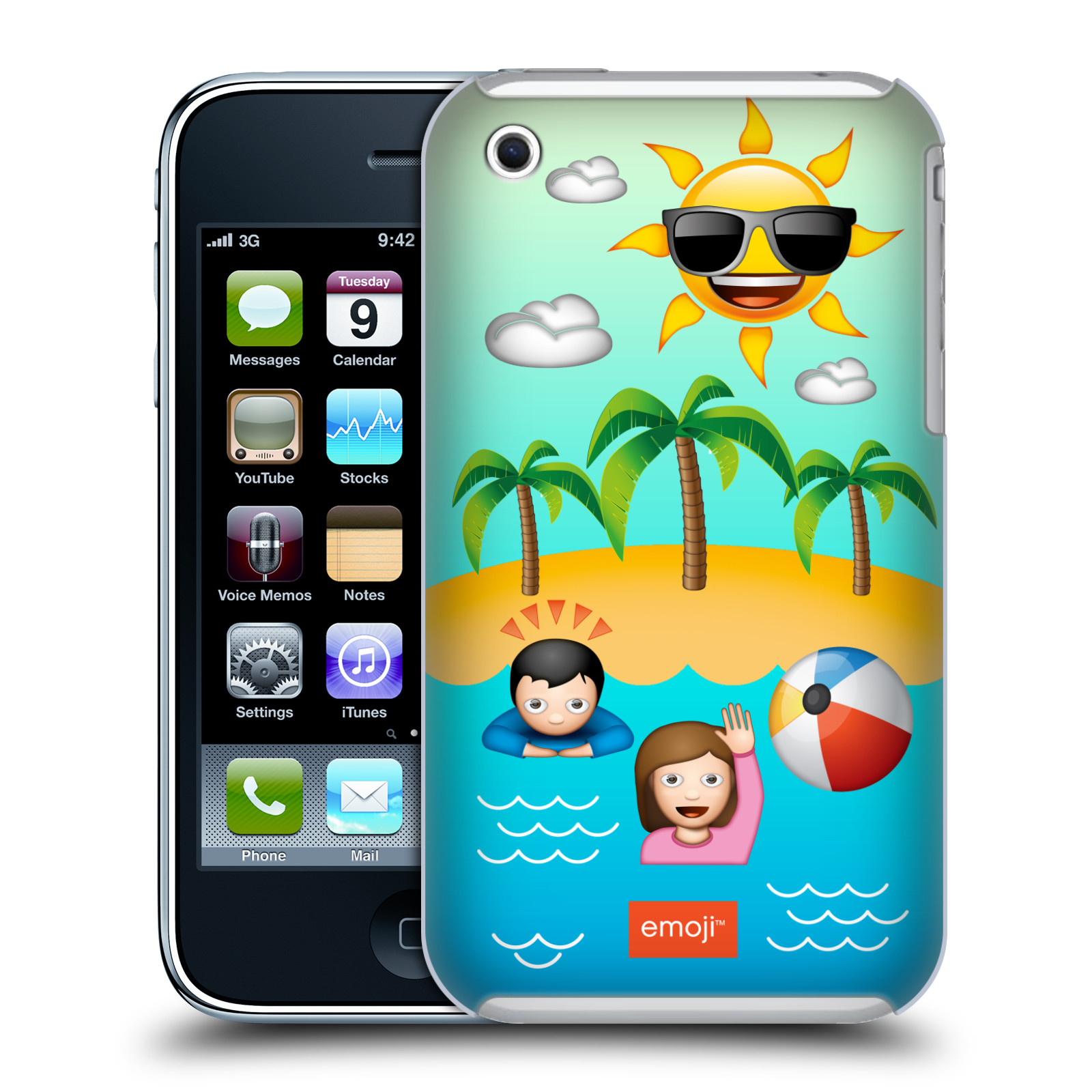 OFFICIAL EMOJI HAPPY SUMMER HARD BACK CASE FOR APPLE IPHONE PHONES