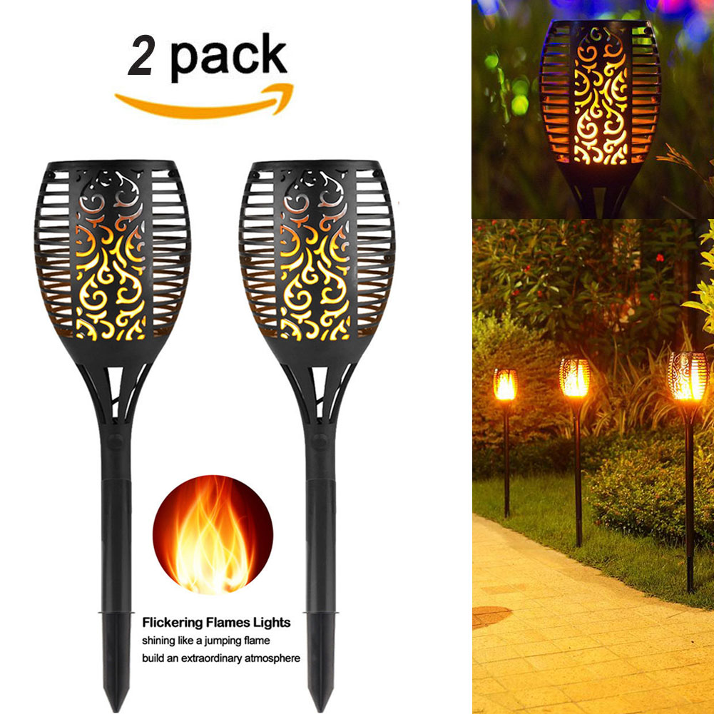 (2 PACK) Solar Path Torches Lights Dancing Flame Lighting 96 LED Dusk to Dawn Auto On Off... by