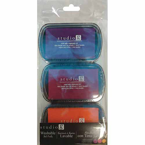 Hampton Art Washable Ink Pads, Brights, 3-Pack Multi-Colored