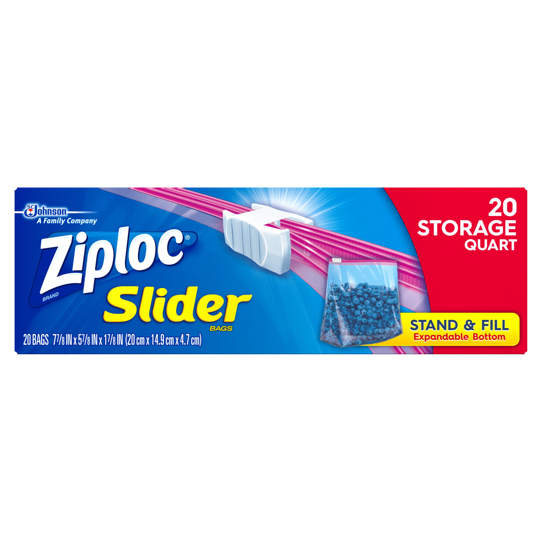 Ziploc Slider Storage Bags Quart 20 count