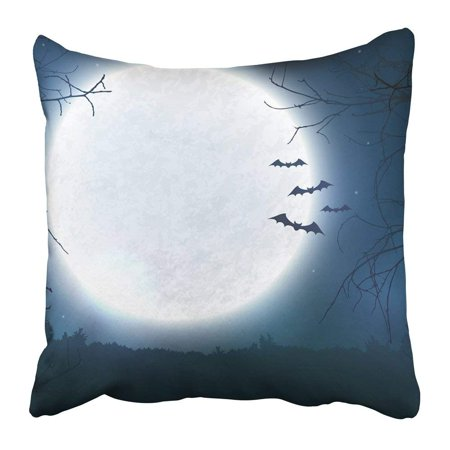 ARTJIA Black Spooky Night with Full Moon Scary Trees and Bats Silhouettes Halloween with Copy Space Pillowcase 16x16 inch