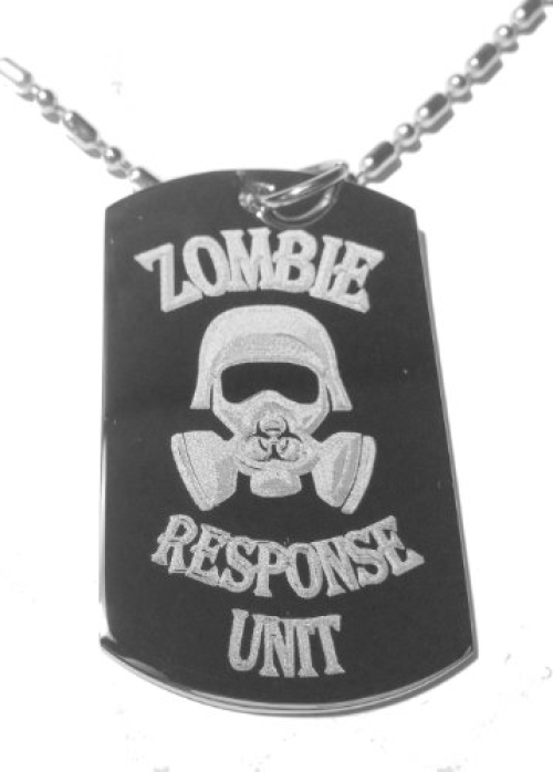 Zombie Outbreak Response Team Biohazzard Human Gas Mask Logo Symbol Military Dog Tag, Luggage Tag Metal Chain Necklace by