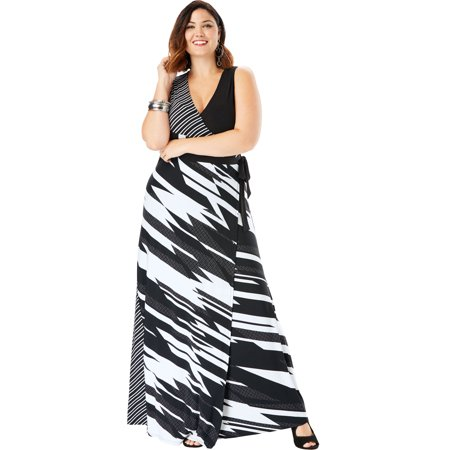Roaman\'s Plus Size Sleeveless Wrap Dress With Tie Waist