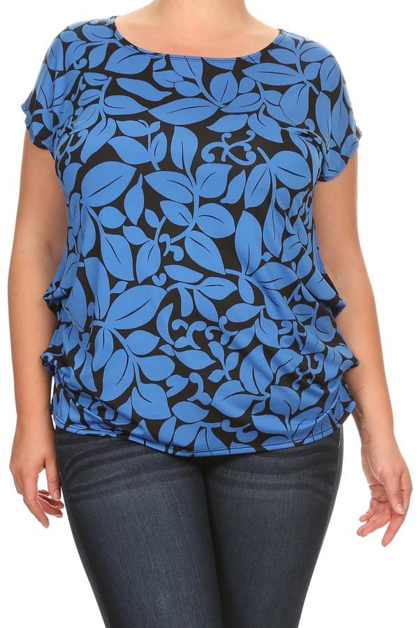 PLUS Women's  short  sleeves print top.