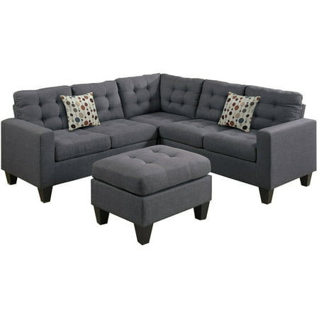 Bobkona Norton 4-Piece Sectional with Ottoman Set, Multiple Colors ()