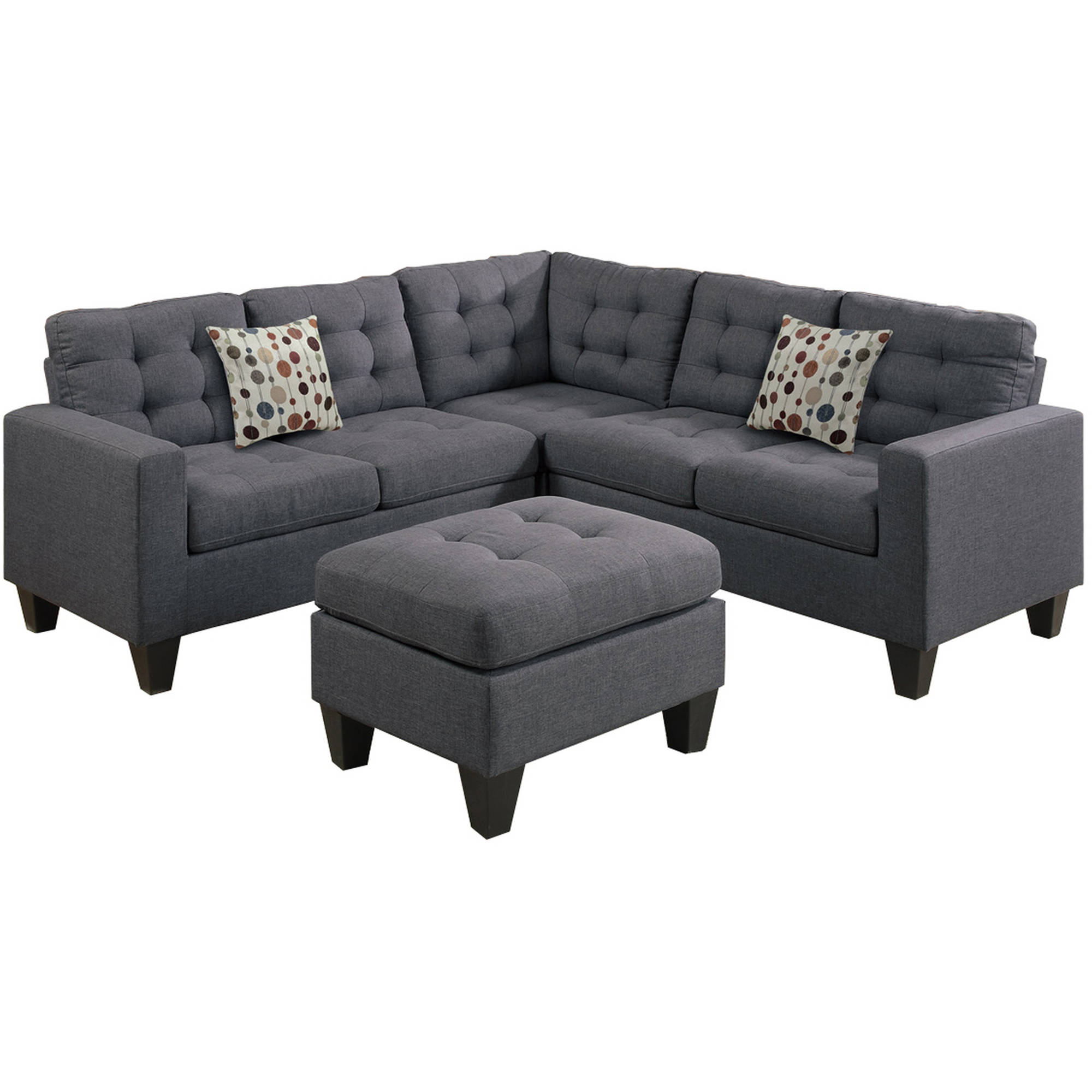Bobkona Norton 4-Piece Sectional with Ottoman Set, Multiple Colors