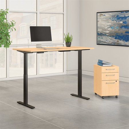 Move 60 Series Height Adjustable Standing Desk with Storage in Maple - image 1 of 7