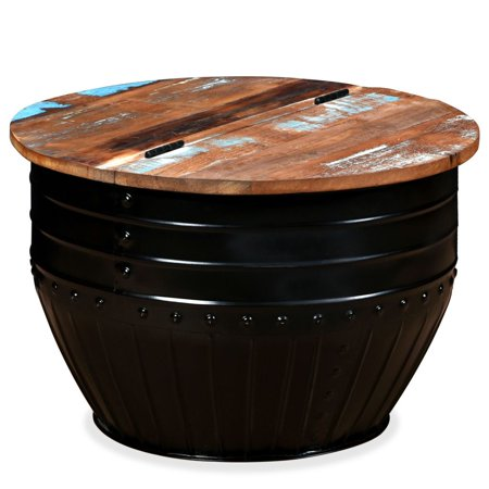 HERCHR Coffee Table Solid Reclaimed Wood Black Barrel Shape ()