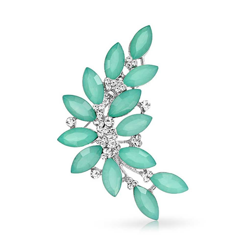 Bling Jewelry Green Marquise Crystal Bridal Leaf Brooch Pin Silver Plated by Bling Jewelry