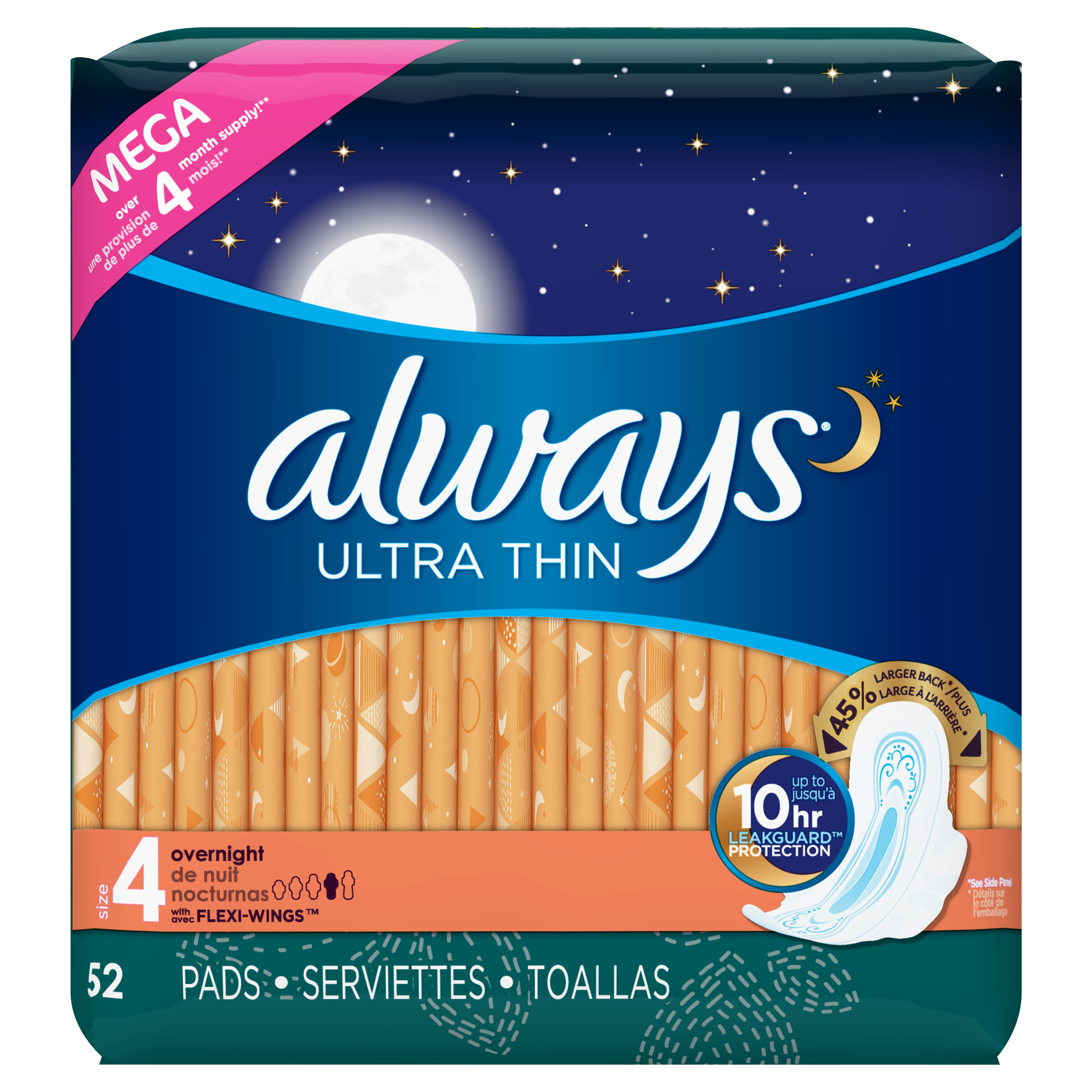 Always Ultra Thin Size 4 Overnight Pads with Wings, Unscented (Choose Count)
