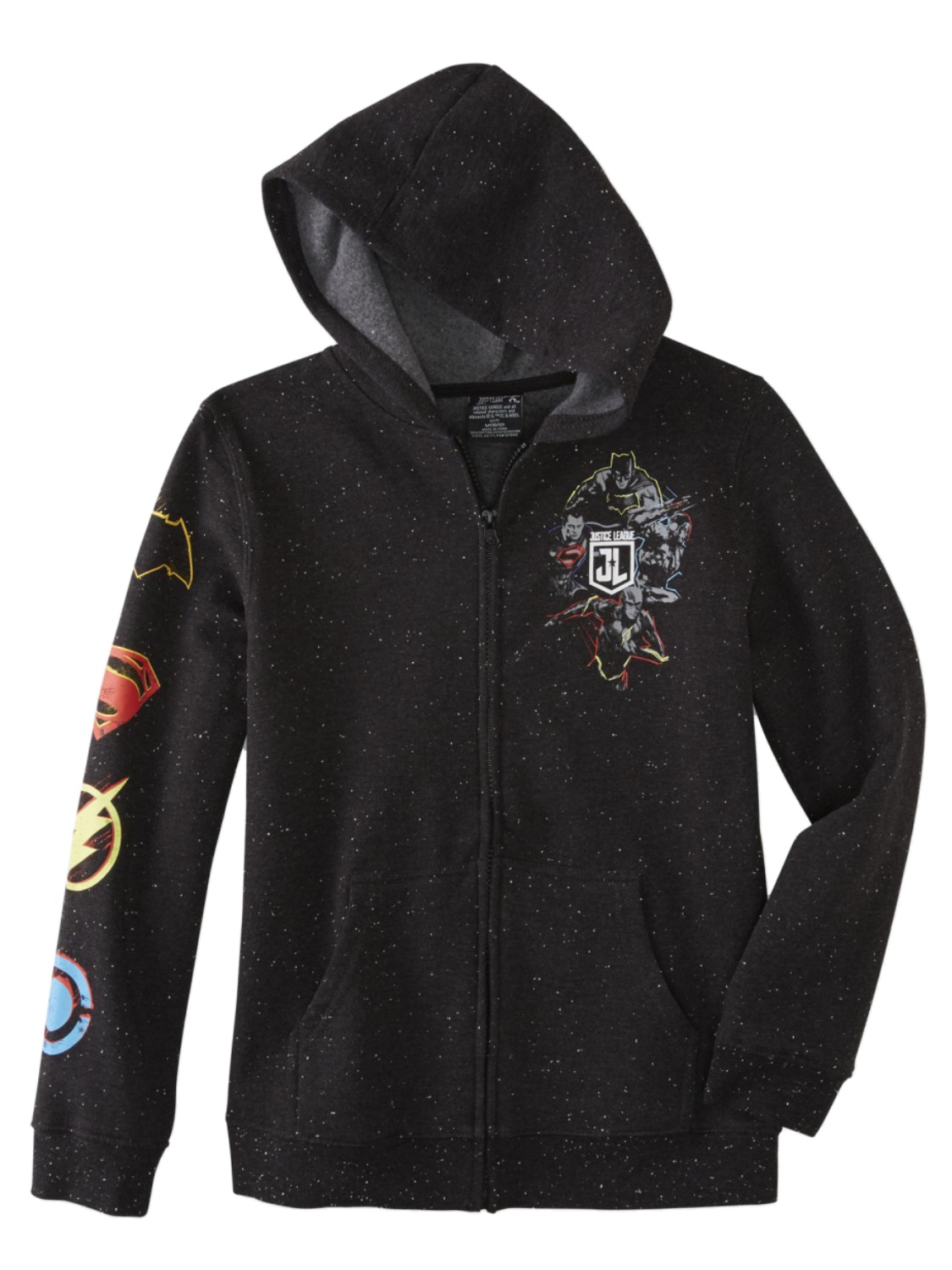 Justice League DC Comics Boys Black Speckled Zip Hoodie Sweatshirt