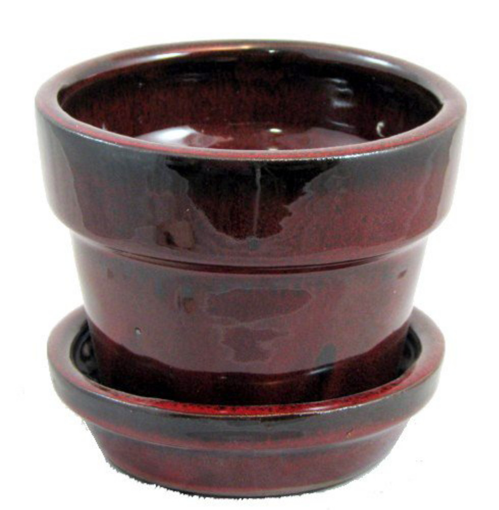 "Glazed Ceramic Pot/Saucer - Tropical Red - 4 3/8"" x 4"" - #11930"