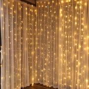 TORCHSTAR 9.8ft x 9.8ft LED Curtain Lights, Starry Christmas String Light, Icicle light, Fairy Light, Curtain light, Decorative Lighting for Room, Garden, Wedding, Christmas, Party, Warm White