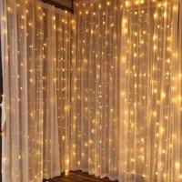 TORCHSTAR 9.8ft x 9.8ft LED Curtain Lights, Starry Christmas String Light, Icicle light, Fairy Light, Curtain light, Decorative Lighting for Room, Garden, Wedding, Christmas, Party, Soft White