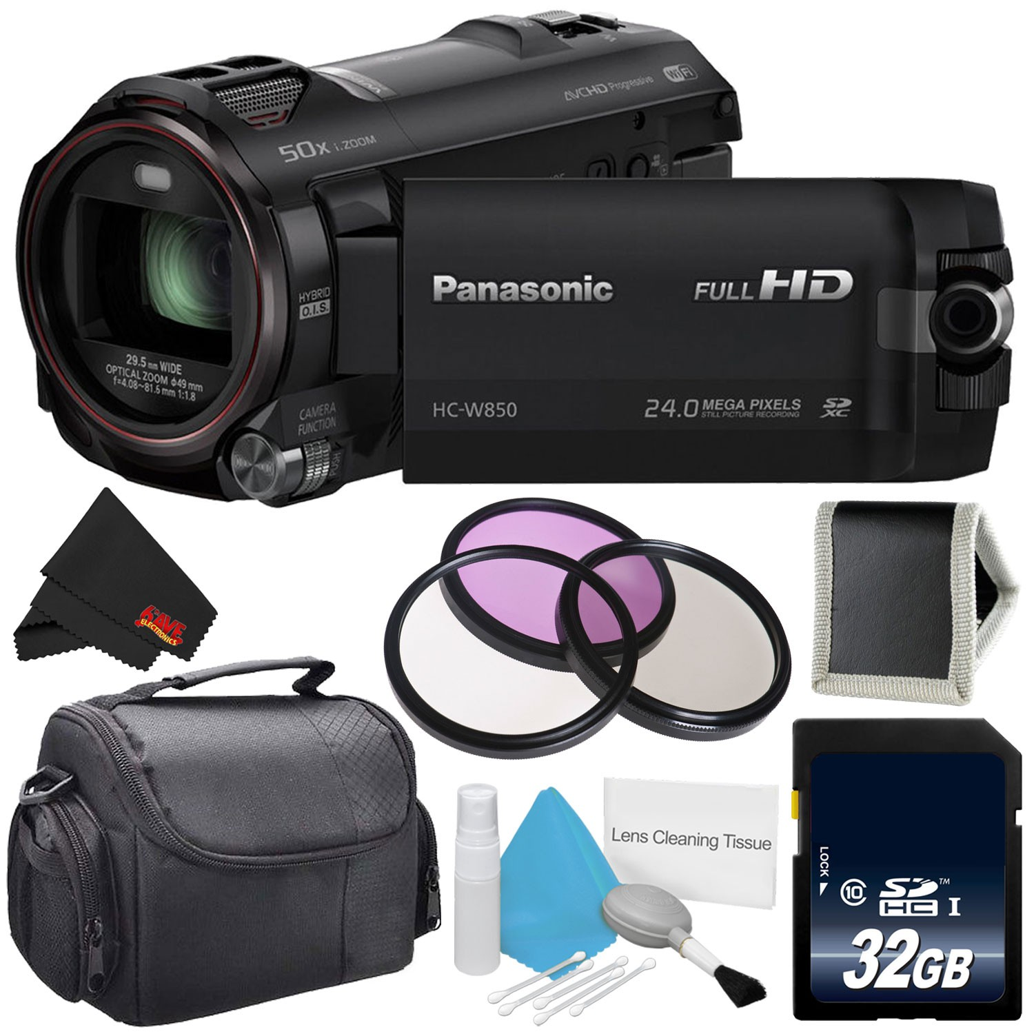 Panasonic HC-W850 Twin Camera Full HD Camcorder Bundle with Carrying Case + 32GB Memory Card + More