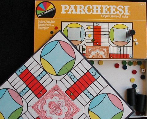 Parcheesi Board Game 1982 Edition, Be first to get all your pawns home without getting bumped. By Milton... by